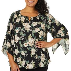 Zac & Rachel Plus Floral Print Jewel Keyhole Neck Top