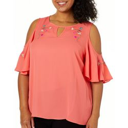 Zac & Rachel Plus Floral Embroidered Cold Shoulder Top