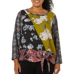 Sami & Jo Plus Mixed Print Tie Front Long Sleeve Top