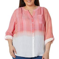 Zac & Rachel Plus Ombre Striped Button Down Tie Front Top