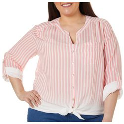Zac & Rachel Plus Striped Button Down Tie Front Top