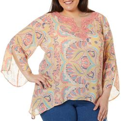 Zac & Rachel Plus Paisley Print Crochet Detail Top