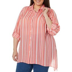 Zac & Rachel Plus Vertical Striped Button Down Top