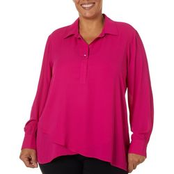 Zac & Rachel Plus Solid Button Placket Long Sleeve Top
