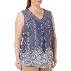 Zac & Rachel Plus Damask Print Lace Sleeveless Top