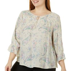 Zac & Rachel Plus Floral Print Tie Neck Top