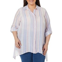 Zac & Rachel Plus Striped Button Down Sharkbite Hem Top