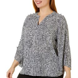 Zac & Rachel Plus Dot Print Embellished Bell Sleeve Top