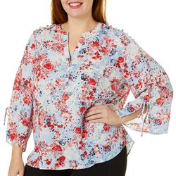 Zac & Rachel Plus Floral Print Embellished Bell Sleeve Top