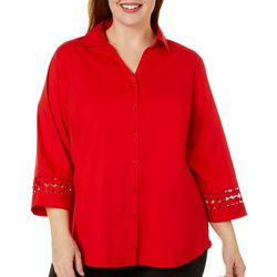 Zac & Rachel Plus Solid Embellished Sleeve Button Down Top