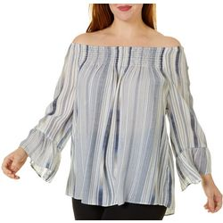 Zac & Rachel Plus Striped Smocked Bell Sleeve Top