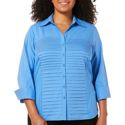 967de110651 Zac   Rachel Plus Pleated Front Top Quick View. BLUE