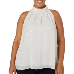 Zac & Rachel Plus Foil Diamond Sleeveless Top