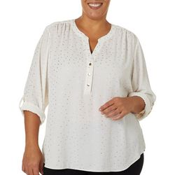 Zac & Rachel Plus Foil Dot Button Down Roll Tab Sleeve Top