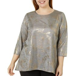 Zac & Rachel Plus Foil Detail Round Neck Top