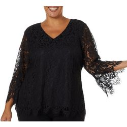 Zac & Rachel Plus Solid Lace Bell Sleeve V-Neck Top