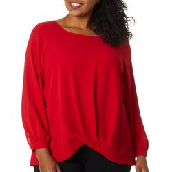 Zac & Rachel Plus Solid Crepe Twist Front Long Sleeve Top