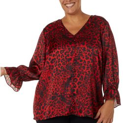 Zac & Rachel Plus Animal Print Button Down Bell Sleeve Top
