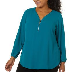 Zac & Rachel Plus Solid Zippered V-Neck Long Sleeve Top