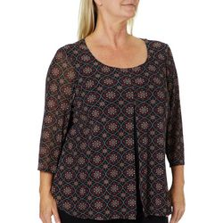 Zac & Rachel Plus Medallion Print Split Front Top