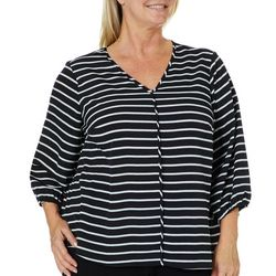 Zac & Rachel Plus Stripe Print V-Neck Woven Top
