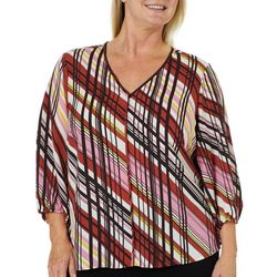 Zac & Rachel Plus Diagonal Stripe V-Neck Woven Top