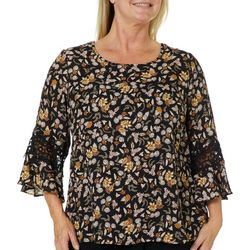 Zac & Rachel Plus Floral Crochet Bell Sleeve Top