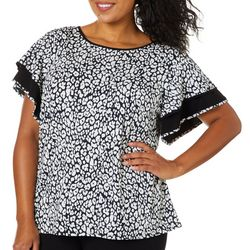 Coco Bianco Plus Leopard Print Bell Sleeve Top
