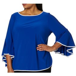 Coco Bianco Plus Contrast Trim Bell Sleeve Top