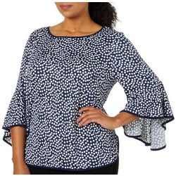 Coco Bianco Plus Contrast Trim Pollka Dot Bell Sleeve Top