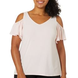 Coco Bianco Plus Solid Cold Shoulder Short Sleeve Top