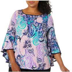 Coco Bianco Plus Contrast Trim Paisley Bell Sleeve Top