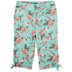 Counterparts Plus Floral Print Stretch Capris With Bows