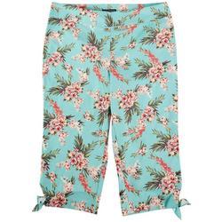 Plus Floral Print Stretch Capris With Bows