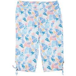 Womens Plus Tropical Tie Hem Pull-On Capris