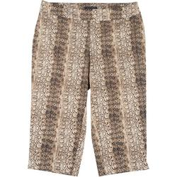 Plus Pull On Striped Snake Print Capris