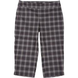 Plus Plaid Pull-On Ankle Pants