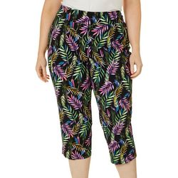 Counterparts Plus Colorful Palm Leaf Printed Pull On Capris
