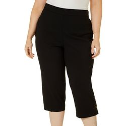 Counterparts Plus Pull-On Solid Button Hem Capris