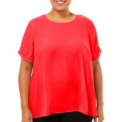 DR2 Plus Solid Crew Neck Tiered Sleeve Top
