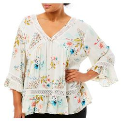 DR2 Plus Floral Print Crochet Embellished Top