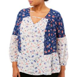 DR2 Plus Floral Print Long Sleeve Top