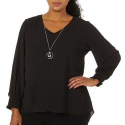NY Collection Plus Solid Long Sleeve Asymmetrical Hem Top