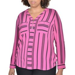 NY Collection Plus Zip Front Striped Roll Tab Top