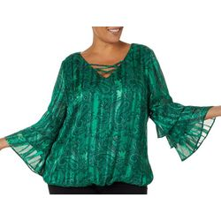Sara Michelle Plus Paisley Print Bell Sleeve Top
