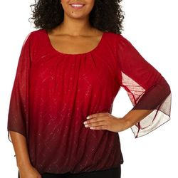 Sara Michelle Plus Ombre Glitter Banded Top