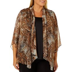 Sara Michelle Plus Mixed Animal Paisley Print Duet Top