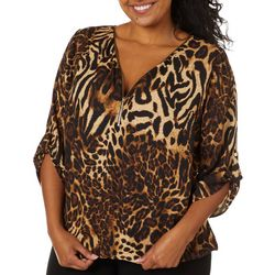 Sara Michelle Plus Animal Print Zippered Top