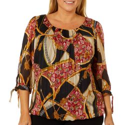 Sara Michelle Plus Mixed Chain Print Bubble Top