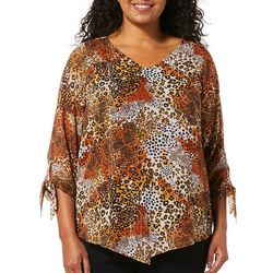 Sara Michelle Plus Leopard Tie Sleeve Poncho Top